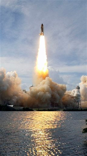 Space Shuttle Blastoff Looks Like Cotton Candy