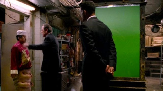 Is there unfinished green screen in the new Men In Black 3 trailer?
