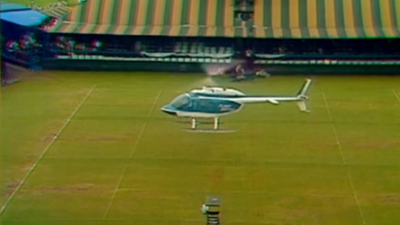 Here Is The Proper Way To Dry A U.S. Open Court: With A Helicopter