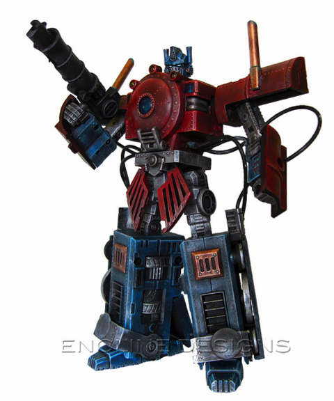 This steampunk Optimus Prime runs on coal
