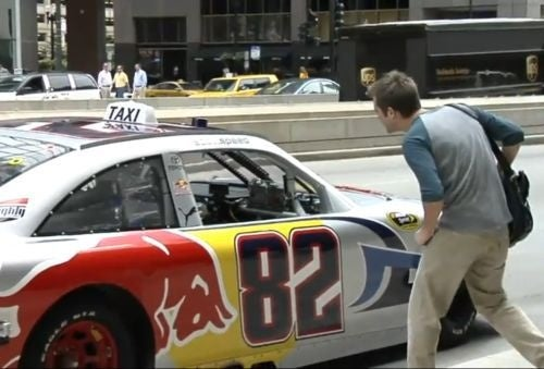 Scott Speed Plays NASCAR Taxi In Streets Of Chicago