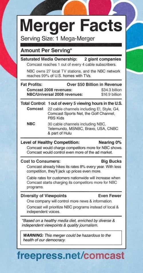 The Comcast-NBC Merger Nutrition Facts