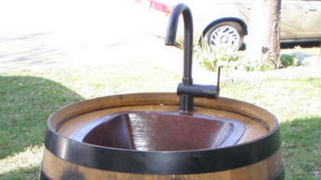 Repurpose a Wine Barrel Into an Outdoor Sink
