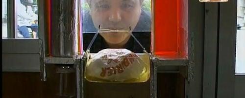 Odd: Japanese Burger Joint's Human-Powered Vending Machine