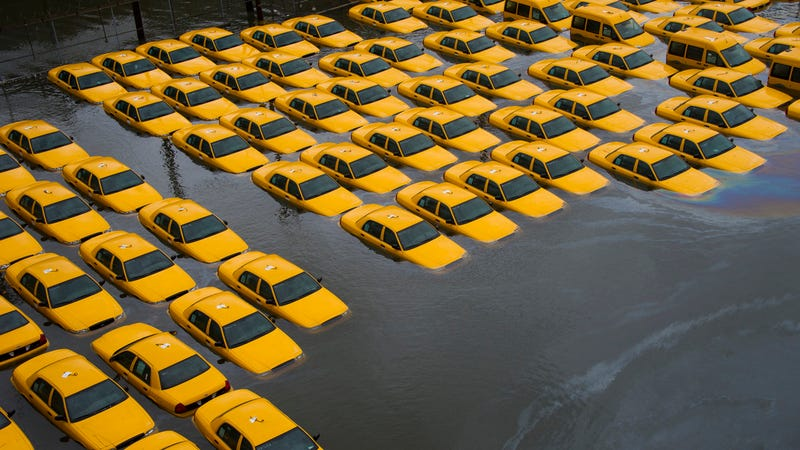 Flooded Taxis in Hoboken, New Jersey