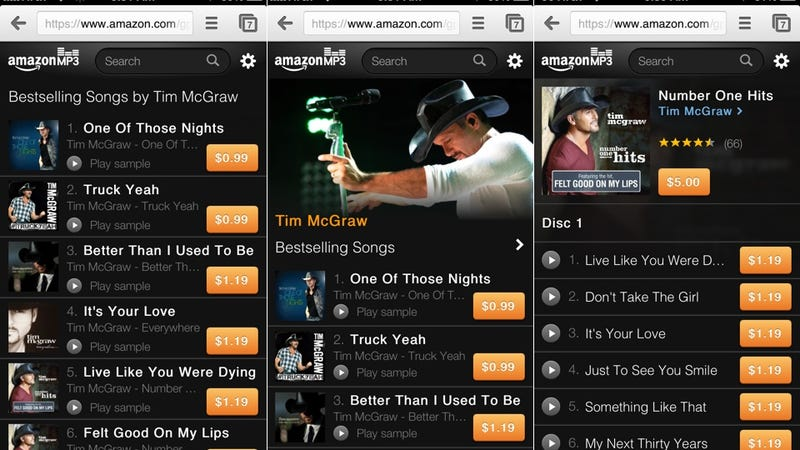 Amazon's MP3 Store Now Has a Slick Web Version for Your iPhone or iPod