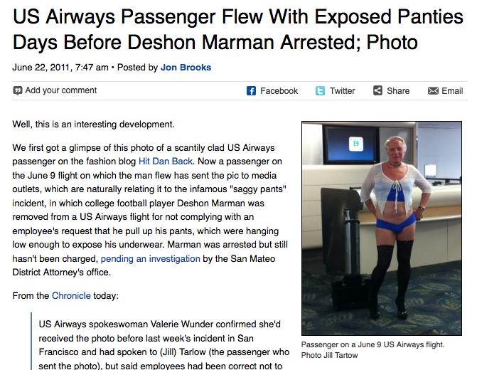 US Airways Is Cool With Dude Flying In Skimpy Panties (And Little Else)