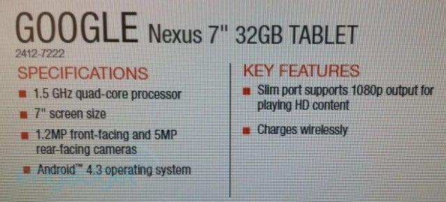 New Nexus 7 Leak Spills Almost All the Details