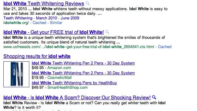"When Google Doesn't Have the Answer, or ""Is Idol White a Scam?"""