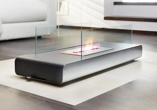 Vidro Floor Fireplace, Optionally Fueled by Coffee Table Books