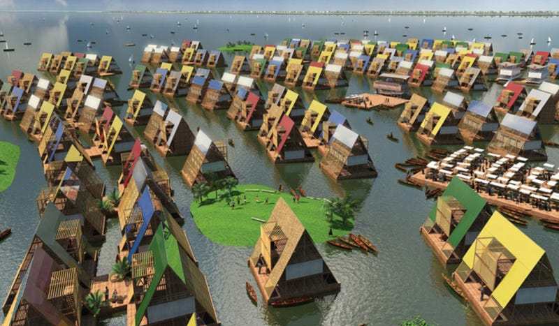 Instant floating cities for flooded neighborhoods