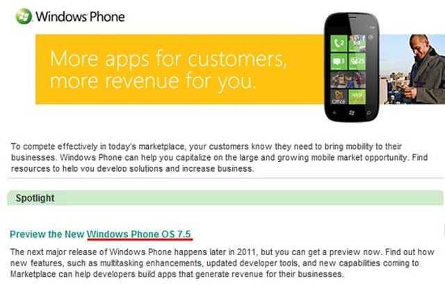 Microsoft's Mango Release Will Indeed be Windows Phone 7.5