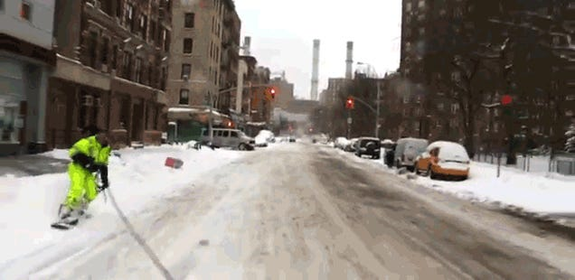 Watch this guy snowboarding through the streets of New York