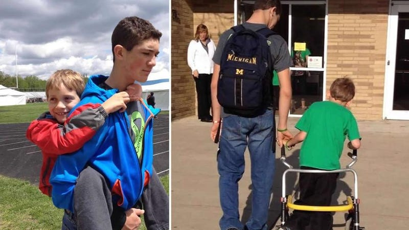 Teen Begins 40-Mile Walk with Younger Brother On His Back