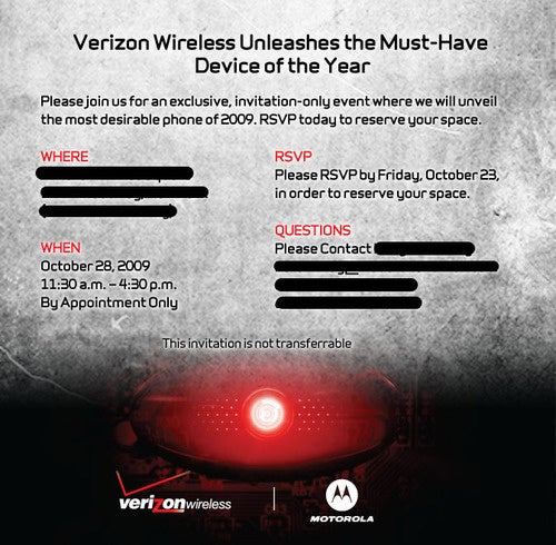 Verizon Hosting Droid Event On October 28