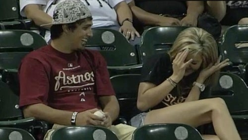 Chivalry Is Dead: Man Ducks Foul Ball Before It Hits Girlfriend