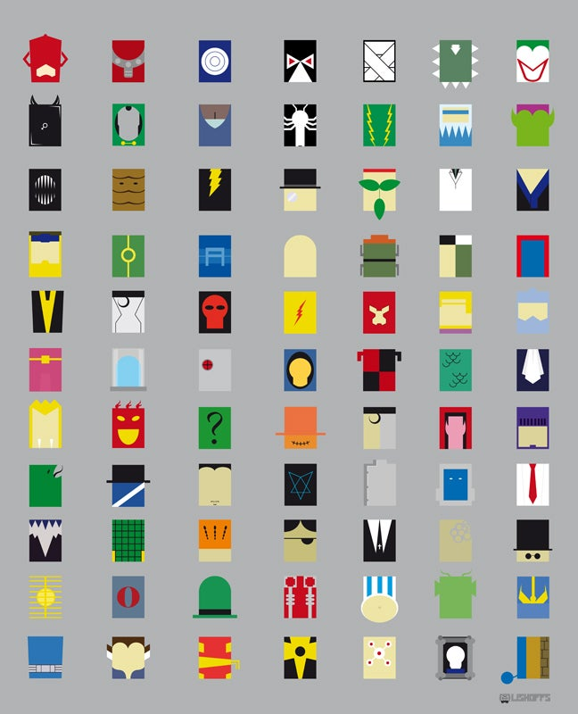 And now, 77 supervillains depicted as minimalist rectangles