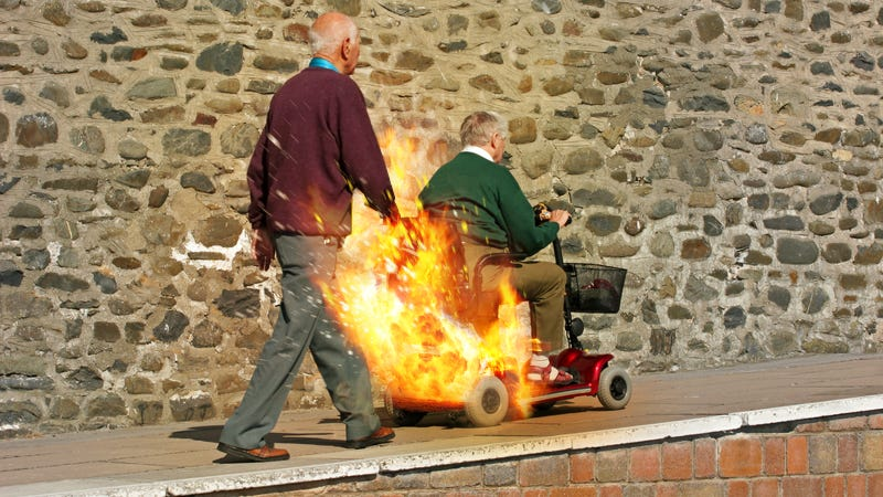 Elderly man almost barbecued by exploding Hoveround