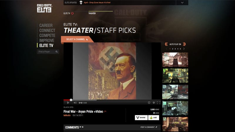 Pro-Hitler Video is a Call of Duty Elite 'Staff Pick'
