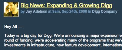 Digg announces major increase in spending