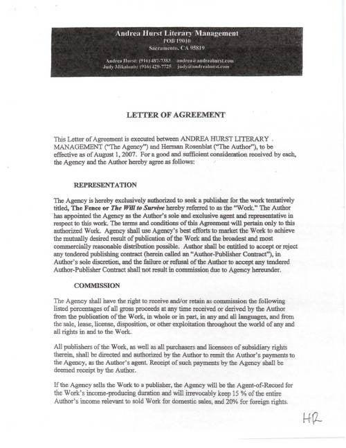 Herman Rosenblat Book Deal Documents