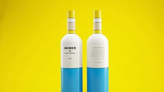 I wanna get drunk on this modern art-inspired Homer Simpson wine