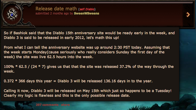 Math Genius Appears To Have Guessed Diablo III's Release Date Two Months Ago