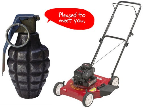 Lawn Mower Saves Man's Life From Misplaced Hand Grenade