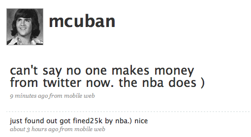 Mouthy Billionaire Mark Cuban Fined for Using Twitter