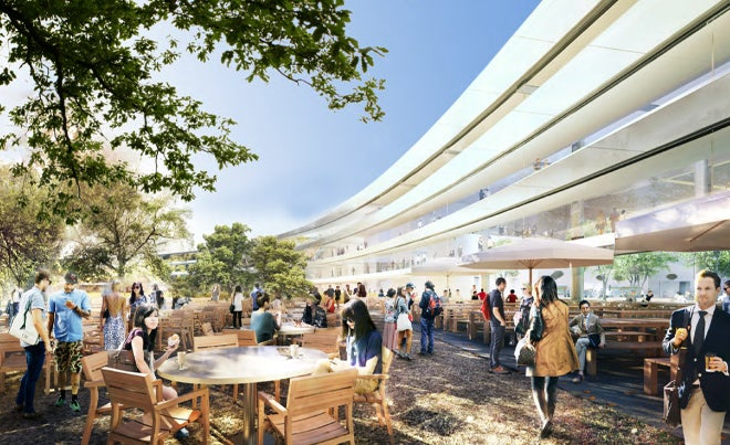 Itt vannak az első képek az Apple-központ mesterséges paradicsomából