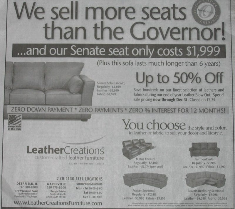 Chicago Ad Mocks Blagojevich, Suggests New Gig