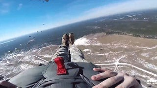Watch a military jump from the point of view of a US Army paratrooper