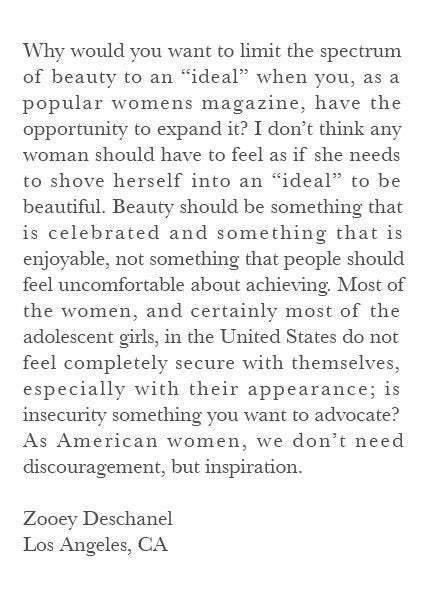 Zooey Deschanel's Feminist Teen Angst Letter To Vogue