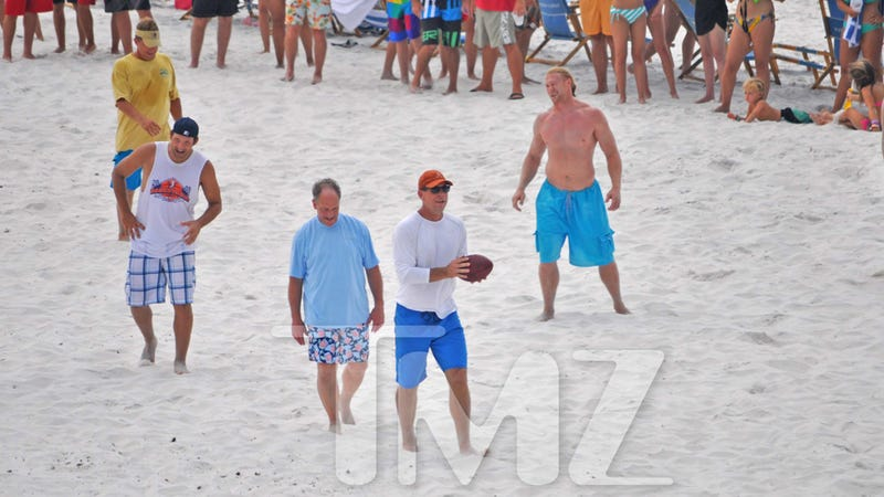 The Lockout Will Not Stop Tony Romo And Troy Aikman From Having A Spirited Game Of Beach Football