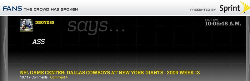 NFL.com Gives The Fans A (Stupid, Racist) Voice