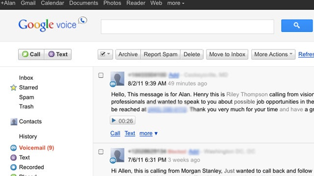 Google Voice Rolling Out New Gmail and Calendar-Style Layout