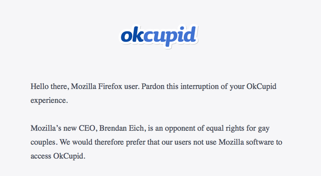 OKCupid Website Blocks Firefox Because of Mozilla CEO's Anti-Gay Beliefs