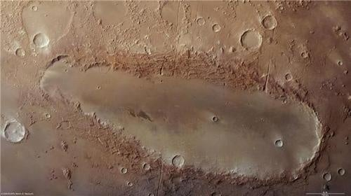 This bizarre elongated crater is a Martian mystery