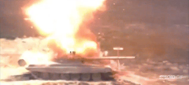 High speed footage of a missile disintegrating a tank