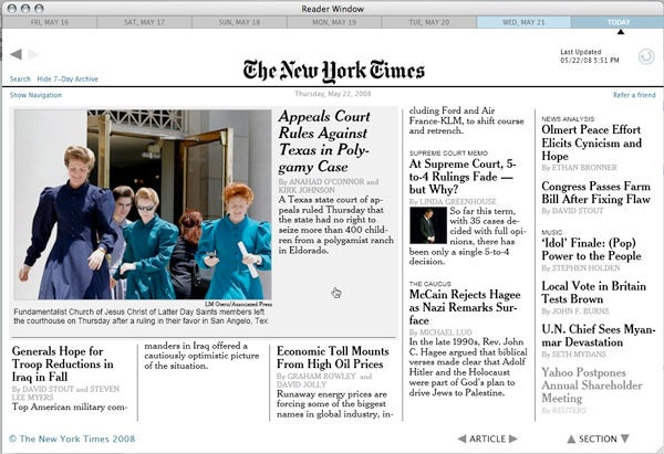 NY Times Reader for Mac Beta: Free for Now