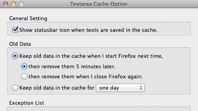 Textarea Cache Saves Text Entered into Web Forms, Blog Comments