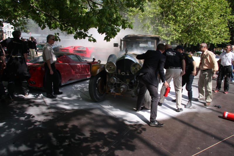 Burning Bentley Almost Kills A Ferrari Enzo At The Concorso