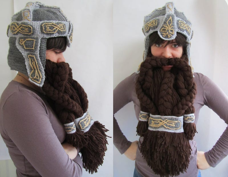 The crocheted Dwarven Helm comes complete with beard, fabulousness