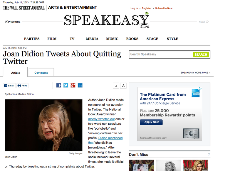 The Wall Street Journal Got Confused and Thought Joan Didion Was on Twitter
