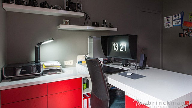 Black, White, and Red: The Superbly Organized Photographer's Workspace