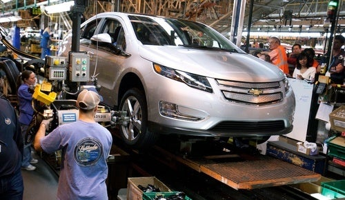 Chevy Volt Built Alongside Awesome Gas-Guzzling Old People Sedans