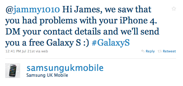Samsung UK Giving Away Free Galaxy S Android Phones To People Who Complain About The iPhone 4