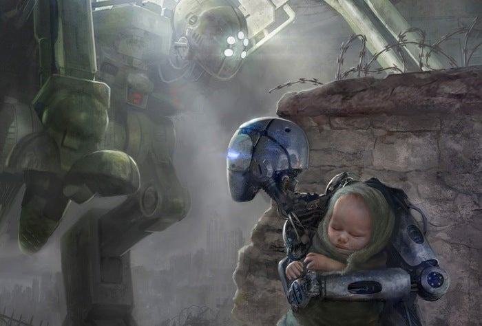 Concept Art Writing Prompt: A Robot Rescues a Human Infant