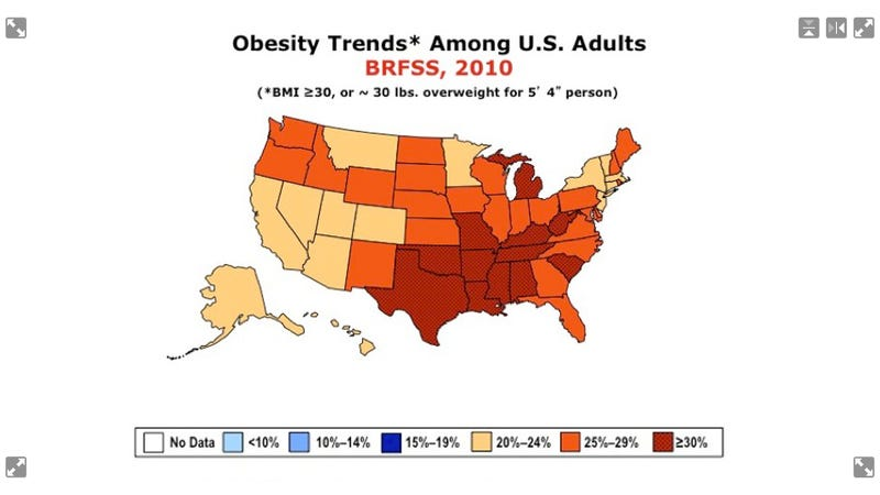 """""""Fat maps"""" show where the obesity epidemic has hit the United States hardest"""