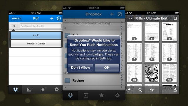Dropbox for the iPhone Updates with Better PDF Viewing and Push Notifications